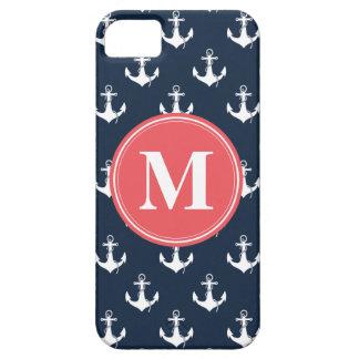 Coques iPhone 5 Case-Mate Motif décoré d'un monogramme d'ancre de bleu