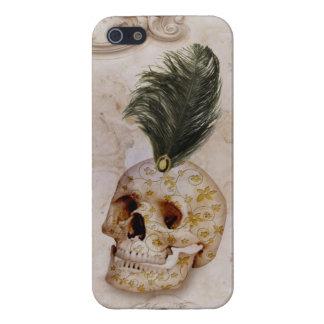 Coques iPhone 5 Crâne et plume de fantaisie sur le marbre