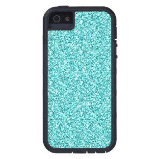 Coques iPhone 5 Girly, parties scintillantes bleues d'Aqua