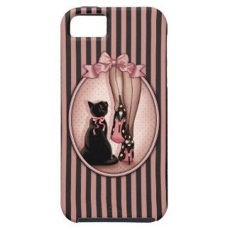 Coques iPhone 5 Jeune femme élégante et chat noir