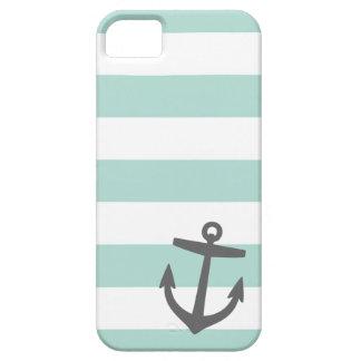Coques iPhone 5 Menthe et ancre de rayure et mignonne nautique