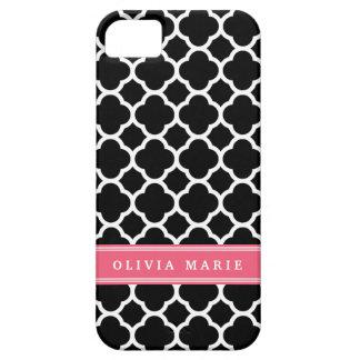 Coques iPhone 5 Motif noir rose personnalisé de Quatrefoil