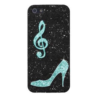 Coques iPhone 5 Note turquoise scintillante de musique et talon