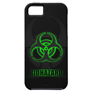 Coques iPhone 5 Symbole vert rougeoyant de Biohazard