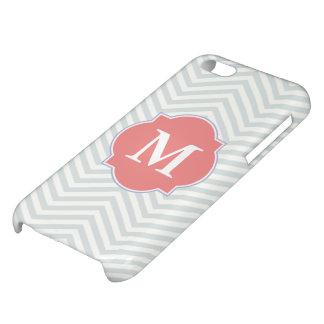 Coques iPhone 5C Monogramme moderne de corail gris et léger de cout
