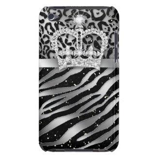 Coques iPod Case-Mate Couronne noire chic d'iPod de zèbre de léopard à