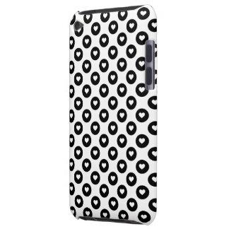 Coques iPod Case-Mate Taches noires et blanches de coeur de Valentines