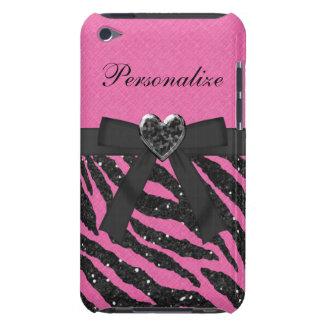 Coques iPod Touch Le zèbre rose et noir a imprimé les parties