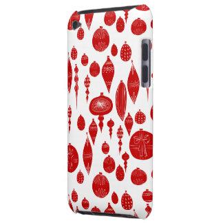 Coques iPod Touch Ornements rouges vintages de Noël sur le blanc