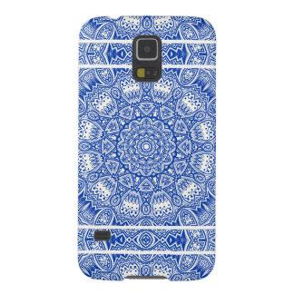 Coques Pour Galaxy S5 Beau motif bleu et blanc de tuile de mandala