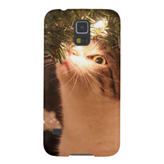 Coques Pour Galaxy S5 Chats et lumières - chat de Noël - arbre de Noël
