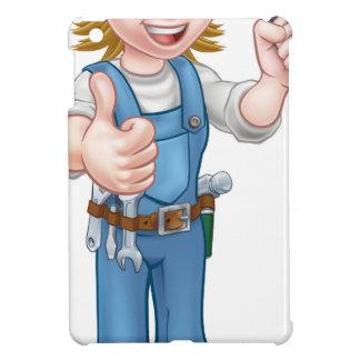 Coques Pour iPad Mini Électricien féminin de bande dessinée tenant le