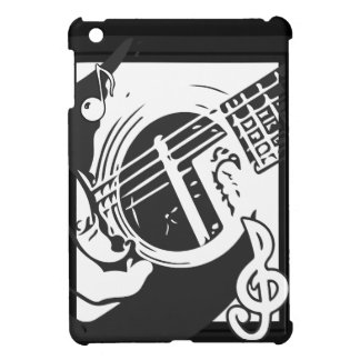 Coques Pour iPad Mini Jeu de guitare de mélomane noir et blanc
