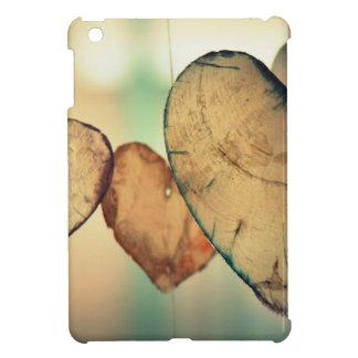 Coques Pour iPad Mini La forme en bois rustique de coeur arrondit le