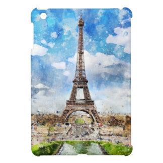 Coques Pour iPad Mini Paysage urbain Paris, Eiffel d'aquarelle vers