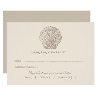 Coquillage pipe% en ivoire de la carte- de réponse carton d'invitation 8,89 cm x 12,70 cm