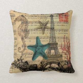 coquillage vintage de plage de Tour Eiffel de Coussin