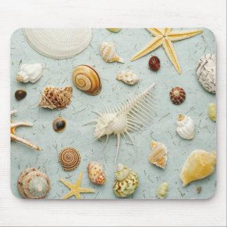 Coquillages assortis sur l'arrière - plan bleu tapis de souris