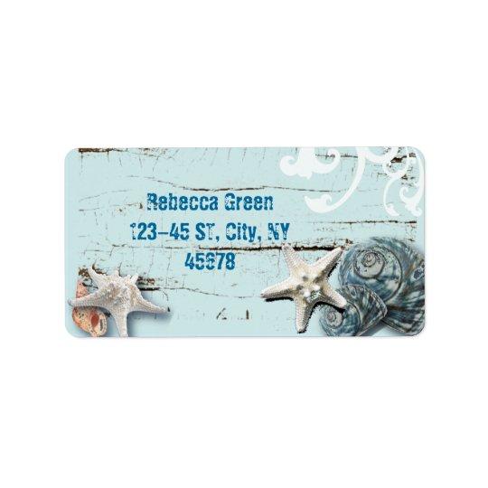 Coquillages bleus d'étoiles de mer d'aqua en bois étiquette d'adresse