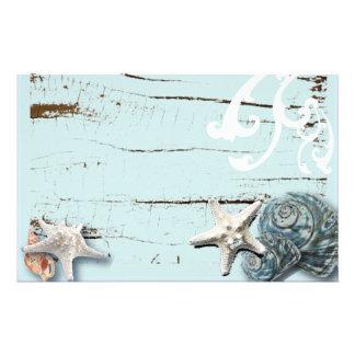 Coquillages bleus d'étoiles de mer d'aqua en bois papeterie