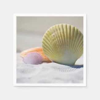 Coquillages colorés dans le sable serviette jetable