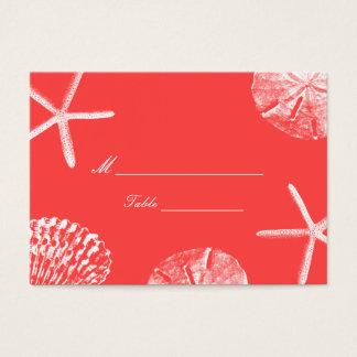 Coquillages rouges de corail de thème de plage cartes de visite
