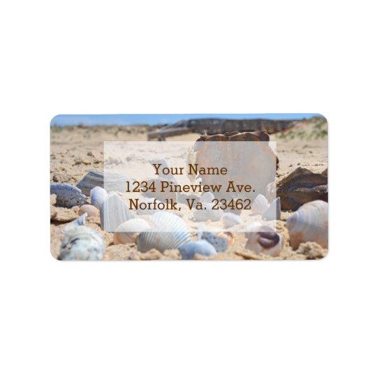 Coquillages sur la plage par Shirley Taylor Étiquette D'adresse