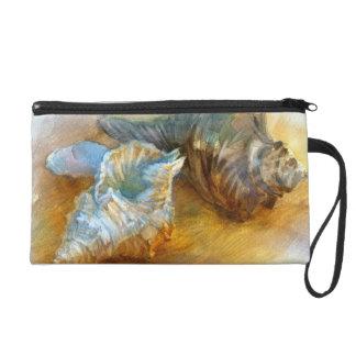 Coquillages sur la plage sacs à main avec dragonne