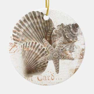 Coquillages vintages d'étoiles de mer de nautilus ornement rond en céramique