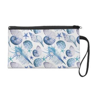 Coquilles d'aquarelle sac à main avec dragonne