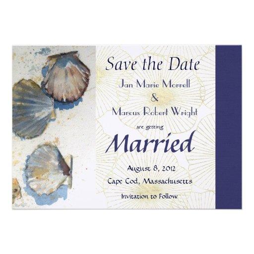 Coquilles de mer épousant des économies la carte d invitations personnalisées