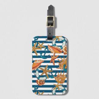 Coquilles de mer et motif d'ancre étiquettes bagages