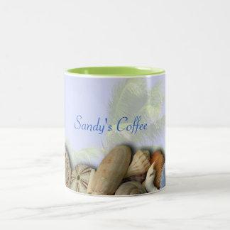 Coquilles personnalisées de plage, tasse de café