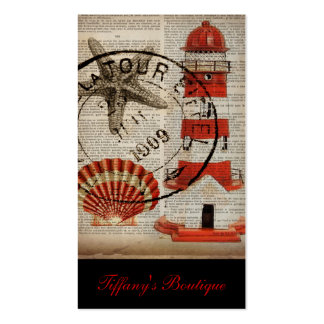 coquilles vintages chics minables de mer de phare carte de visite