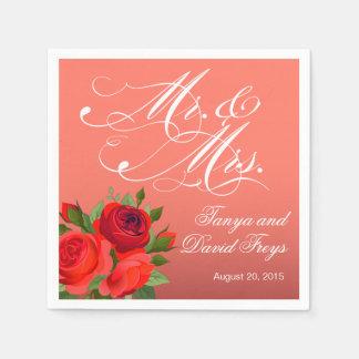 Corail de M. et de Mme Script Typography Roses Serviettes En Papier