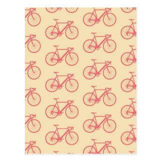 Corail de silhouette de bicyclette et motif cartes postales