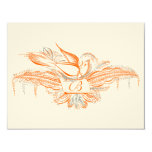Corail et gris oranges d'oiseaux de Flourish de Carton D'invitation 10,79 Cm X 13,97 Cm