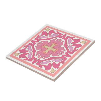 Corail rose mou et résumé géométrique beige carreau