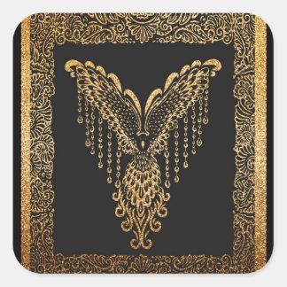 Corbeau d'or sticker carré
