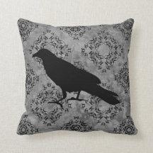 Corbeau noir gothique de corneille de Halloween Oreiller