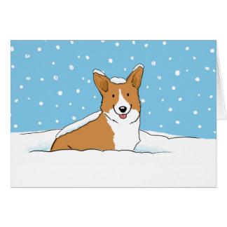 Corgi de neige de Noël Carte De Vœux