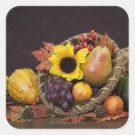 Corne d'abondance d'automne avec des raisins, la autocollants carrés