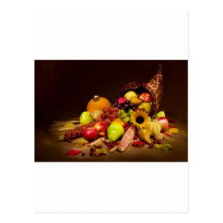 corne d'abondance de fruit et de courge cartes postales