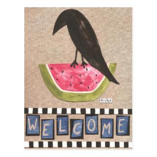 Corneille folklorique sur la pastèque carte postale