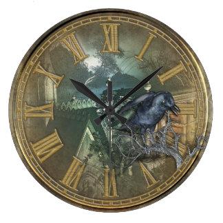 Corneille noire gothique grande horloge ronde