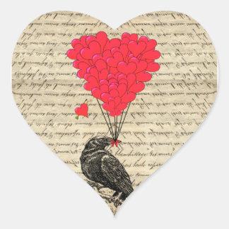 Corneille vintage et ballons en forme de coeur adhésifs