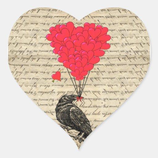Corneille vintage et ballons en forme de coeur autocollant en cœur