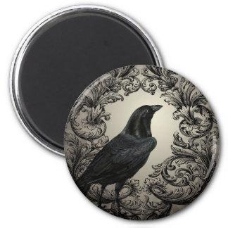corneille vintage moderne de Halloween Magnet Rond 8 Cm