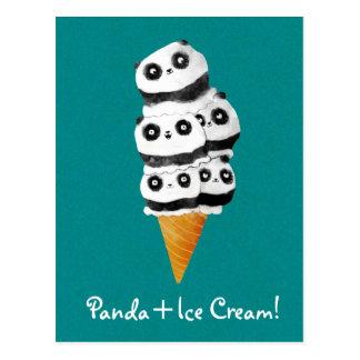 Cornet de crème glacée doux d'ours panda carte postale
