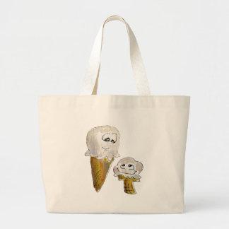 Cornets de crème glacée mignons de bande dessinée grand sac